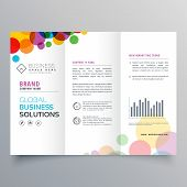 Colorful Circle Abstract Trifold Brochure Vector Design poster