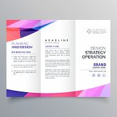 Trifold Business Brochure Design Template With Abstract Wave poster