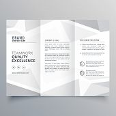 Minimal White Trifold Business Brochure Design Template poster
