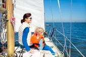 Family Sailing. Mother And Child On Sea Sail Yacht. poster