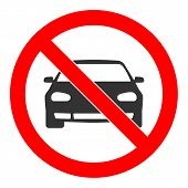 No Car Sign. Parking Prohibited Symbol. Restriction Icon. Flat Design. Vector Illustration. poster