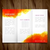 Modern Watercolor Trifold Brochure Design Illustration Vector poster