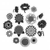 Sunflower Blossom Icons Set. Simple Illustration Of 16 Sunflower Blossom Vector Icons For Web poster