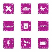 Urban Area Icons Set. Grunge Set Of 9 Urban Area Vector Icons For Web Isolated On White Background poster