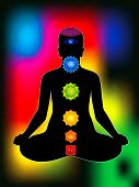stock photo of plexus  - colorful aura with all chakras of body vector illustration - JPG