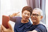 Senior Asian Couple Grandparents Taking A Selfie Photo Together At Home poster