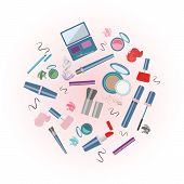 Vector Illustration Of Cosmetics Product. With Text Cosmetics Shop. Cosmetics Product. As Template O poster