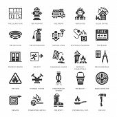 Firefighting, Fire Safety Equipment Flat Glyph Icons. Firefighter Car, Extinguisher, Smoke Detector, poster