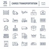 Cargo Transportation Flat Line Icons. Trucking, Express Delivery, Logistics, Shipping, Customs Clear poster