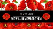 Remembrance Day Lest We Forget 11 November Greeting Banner Or Card Of Poppy Flowers And Quote On Bla poster