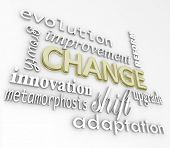 stock photo of evolve  - The word Change in gold 3D letters and other words that symbolize changing in order to achieve success such as evolution - JPG