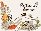 picture of fall leaves  - Vector autumn composition with falling leaves and kissing birds - JPG