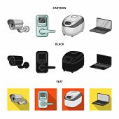 Home Appliances And Equipment Cartoon, Black, Flat Icons In Set Collection For Design.modern Househo poster