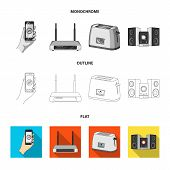 Home Appliances And Equipment Flat, Outline, Monochrome Icons In Set Collection For Design.modern Ho poster
