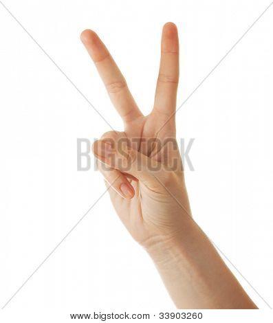 Hand Geste Nummer zwei