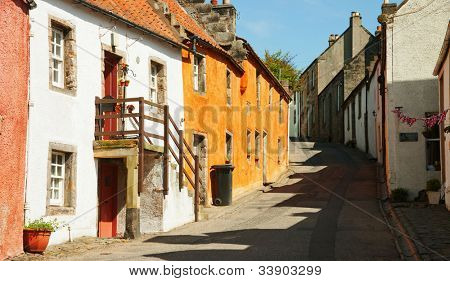 A street in Culross.  The town of Culross is a former royal burgh in Fife, Scotland.