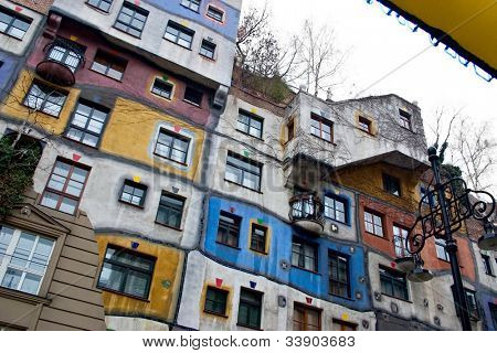 Front view of weird Hundertwasser Haus, an apartement complex for poor people, in Vienna Austria