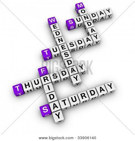 weekdays crossword (blue-white cubes crossword series)