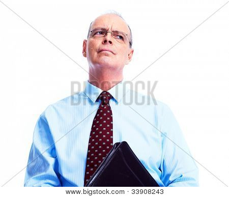 Skeptical businessman. Isolated over white background.