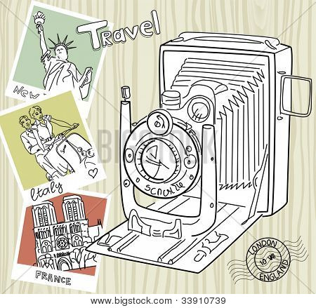 Travel with your vintage camera. Snapshots of different countries and old camera on a wooden background