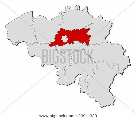 Map Of Belgium, Flemish Brabant Highlighted