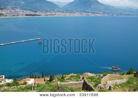 View of the Turkish city and port of Alanya