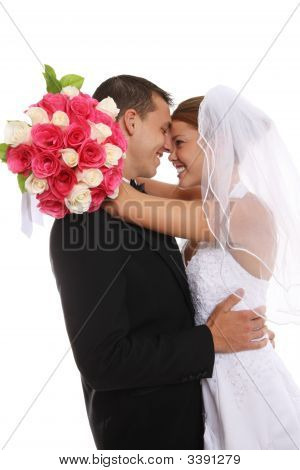 Attractive Bride And Groom At Wedding