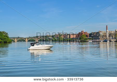 Washington DC - Key Bridge and Georgetown with Potomac River view