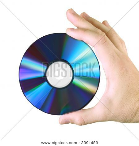 Male Hand Holding Storage/Backup Cd