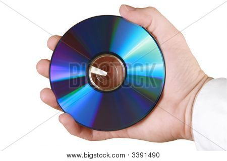 Cd In Hand With Binary Code/Data Written On Surface