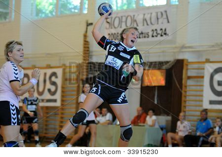 SIOFOK, HUNGARY - AUGUST 24: Erika Kischner (33) in action at a Siofok Cup handball game Siofok KC pink (HUN) vs. HYPO NO blue (AUT) August 24, 2008 in Siofok, Hungary.
