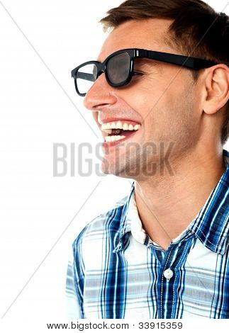 Side View Of Handsome Smiling Caucasian Guy