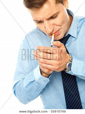 Handsome Businessman With A Cigarette