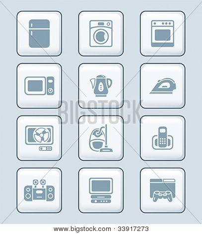 Modern home electronics gray icon-set