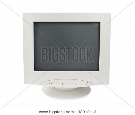Old Crt Monitor Screen Display For Pc Isolated White Background