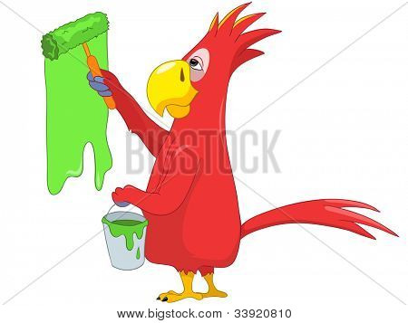 Cartoon Character Funny Parrot Isolated on White Background. Painter. Vector EPS 10.