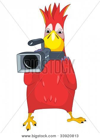 Cartoon Character Funny Parrot Isolated on White Background. Cameraman. Vector EPS 10.