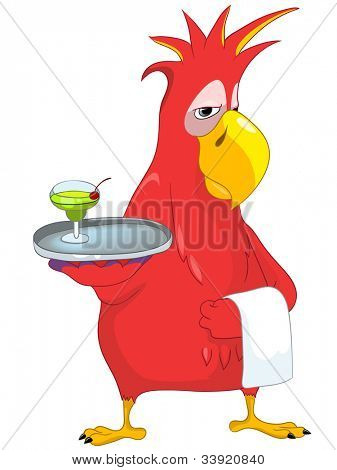 Cartoon Character Funny Parrot Isolated on White Background. Waiter. Vector EPS 10.
