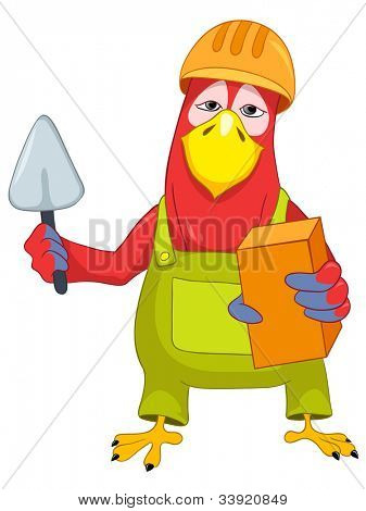Cartoon Character Funny Parrot Isolated on White Background. Violinist. Vector EPS 10.