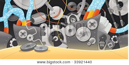 Various types of mechanisms. Funny cartoon and vector illustration.