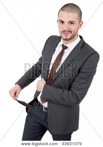 business man showing his empty pocket, isolated