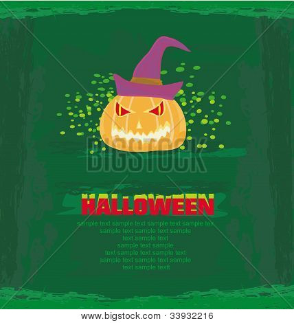 broken halloween pumpkin on grunge green background vector illustration