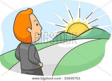 Illustration of a Man Walking Towards a Bright Future
