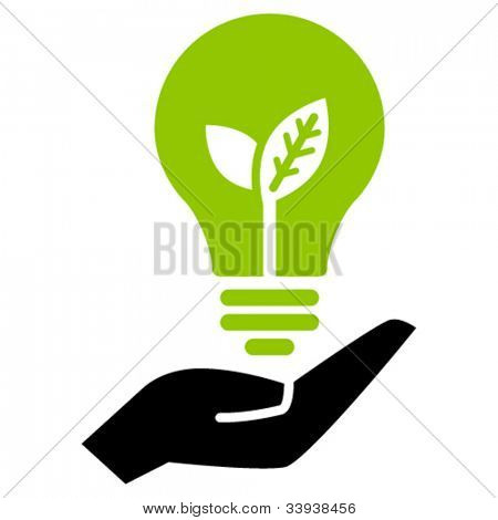 Green ecology bulb on hand, vector icon