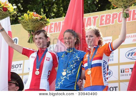 MOSCOW, RUSSIA - JUNE 9: Award ceremony in woman's race during the European Mountain Bike Cross-Country Championship in Moscow, Russia at June 9, 2012