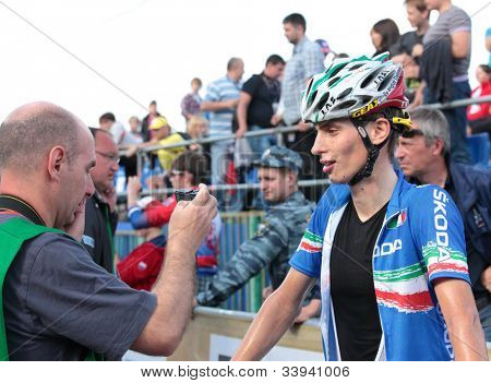 MOSCOW, RUSSIA - JUNE 9: Luca Braidot (Italy), bronze medalist of the European Mountain Bike Cross-Country Championship, gives an interview in Moscow, Russia at June 9, 2012