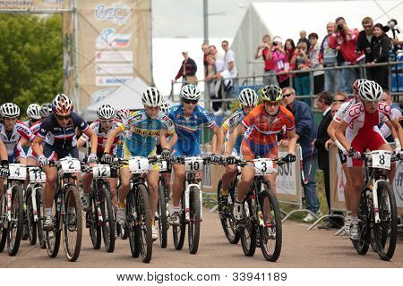 MOSCOW, RUSSIA - JUNE 9: Start of woman's race during European Mountain Bike Cross-country Championship in Moscow, Russia at June 9, 2012
