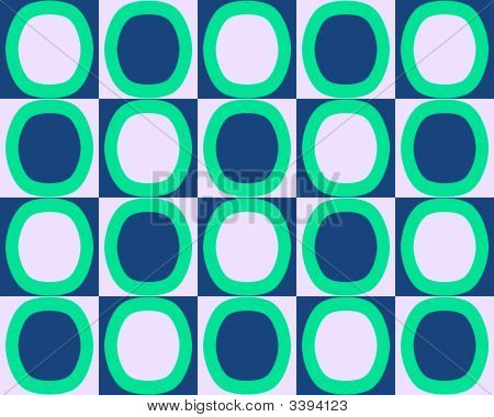 Pop Art Alternate Ovals Pattern Green Blue White