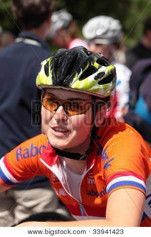 MOSCOW, RUSSIA - JUNE 9: Bronze medalist Anne Terpstra (Netherlands) before the race during the European Mountain Bike Cross-Country Championship in Moscow, Russia at June 9, 2012