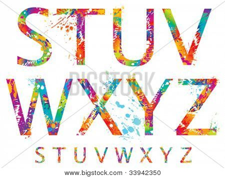 Font - Colorful letters with drops and splashes from S to Z. Vector illustration.